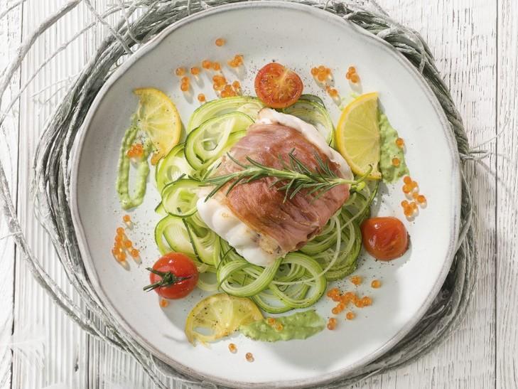 Zeeduivel in Italiaanse ham