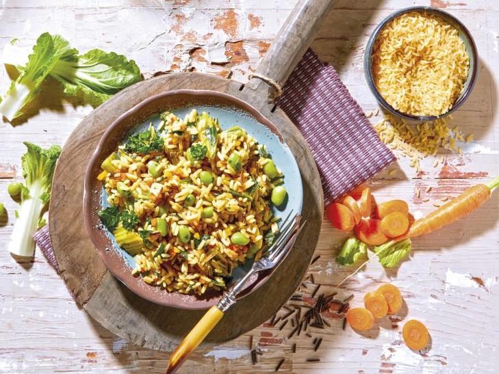 Rijst-groentenpan met pak choi