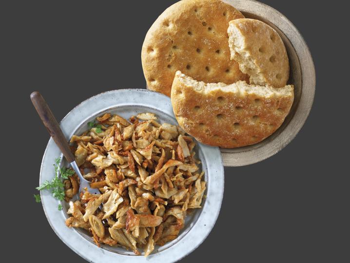 Vegetarische pulled chicken+plat brood