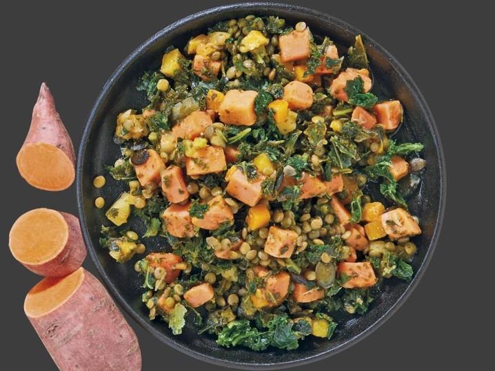 Zoete aardappel-boerenkoolpan